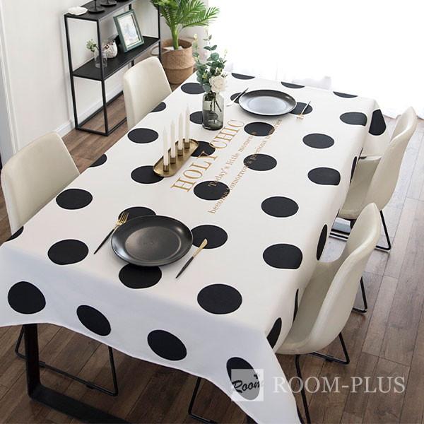 テーブルクロス おしゃれ モノトーン 白黒 ドット 送料無料 テーブルマット ダイニングテーブル 140cm×180cm 200cm 240cm table-c0120 新生活
