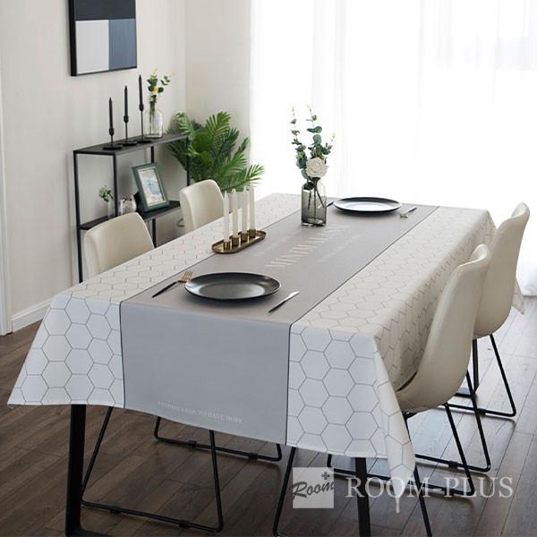 テーブルクロス おしゃれ グレー ホワイト 送料無料 テーブルマット ダイニングテーブル 140cm×180cm 200cm 240cm table-c0122 新生活