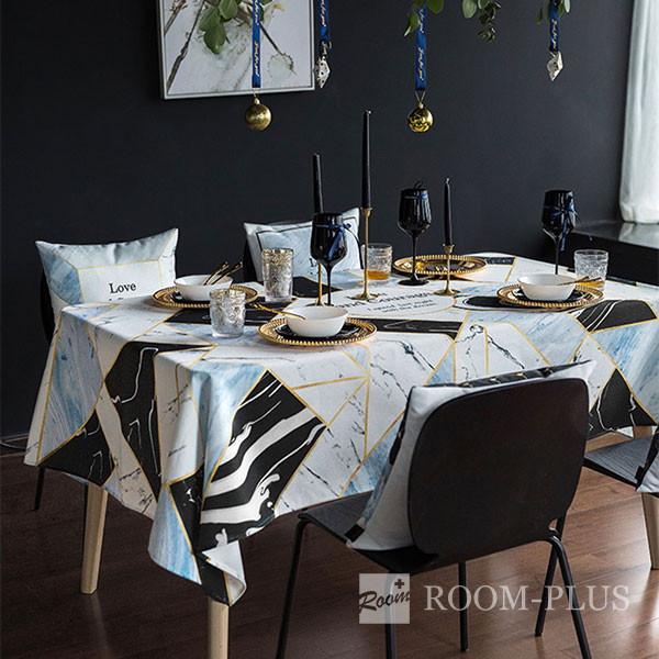 テーブルクロス おしゃれ ブラック ホワイト ブルー 送料無料 テーブルマット 140cm×180cm 200cm  table-c0129 新生活