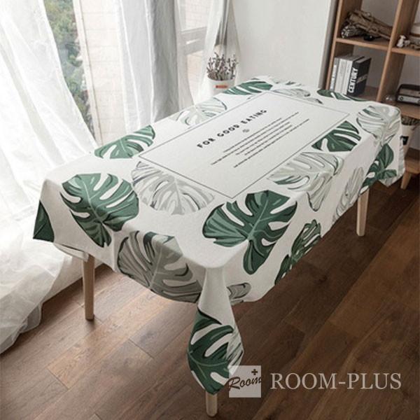 テーブルクロス ホワイト グリーン ボタニカル 送料無料 テーブルマット 140cm×180cm 200cm  table-c0134 新生活