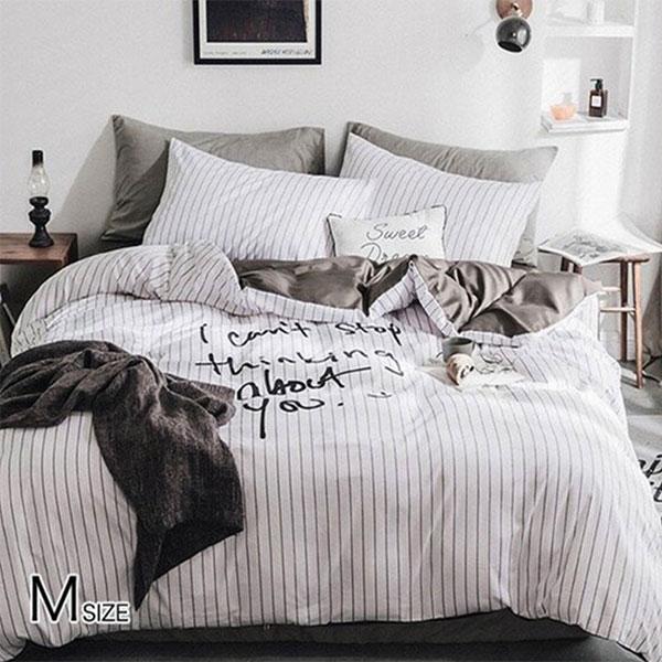 布団カバー セット 4点セット 白黒 モノトーン 送料無料  海外直輸入 白黒 Mサイズ bedding-0522