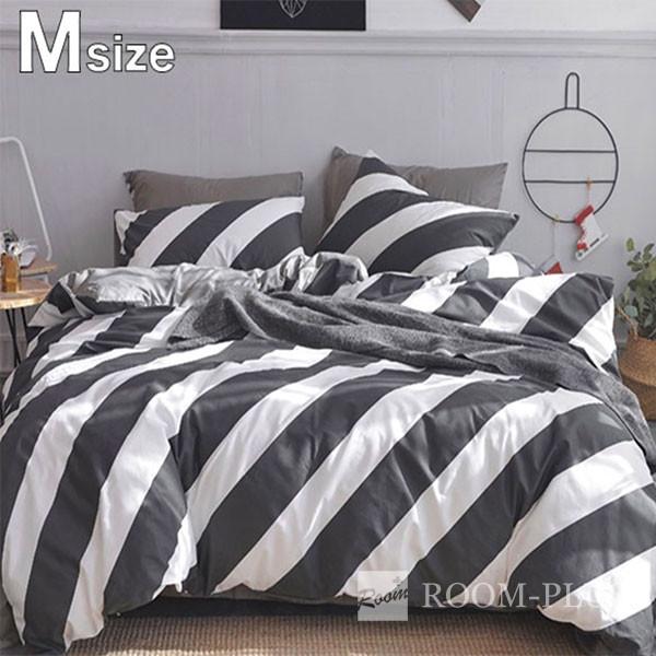 布団カバー 4点セット ダブルサイズ Mサイズ モノトーン ストライプ ホワイト グレー bedding-0549