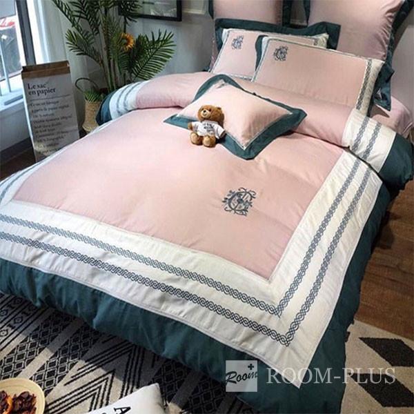 布団カバーセット 4点セット ダブルサイズ Mサイズ ピンク ホワイト グリーン 2色 海外直輸入 bedding-0535 新生活