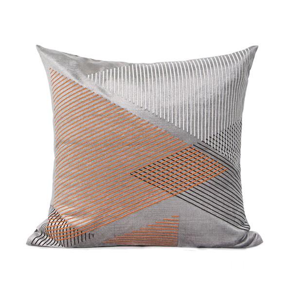 クッションカバー 50×50 グレー オレンジ 幾何学柄 刺繍 高級 ラグジュアリー ソファークッション lc-0085 新生活