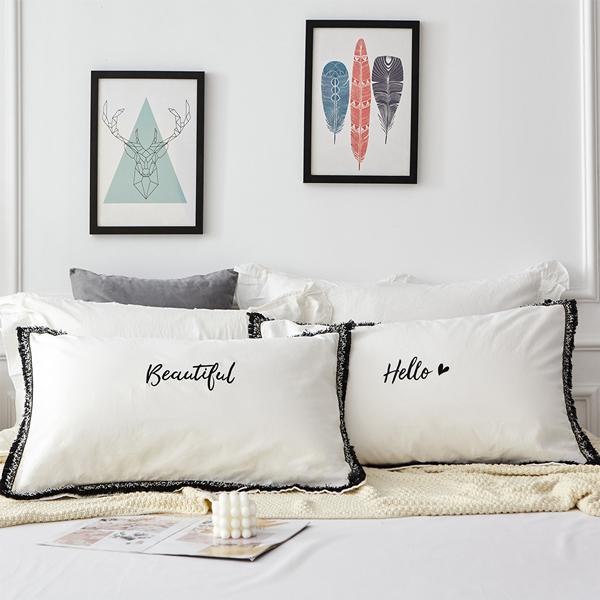 枕カバー モノトーン ピローケース 枕ケース まくらカバー 予約販売品 ベッド用品 pillow-0007 寝室 賜物 大型ピローケース ホワイト