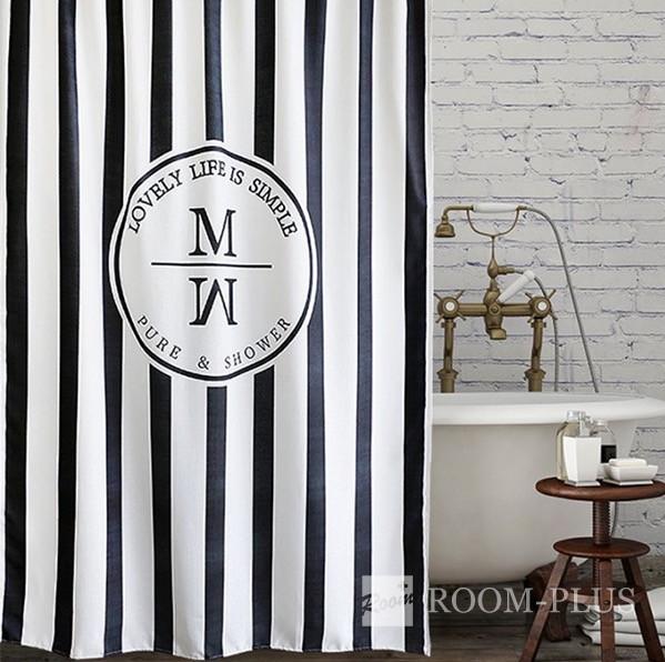 シャワーカーテン バスカーテン モノトーン 2サイズ  ホワイト ブラック バス用品 防カビ  bath-sc0052 新生活