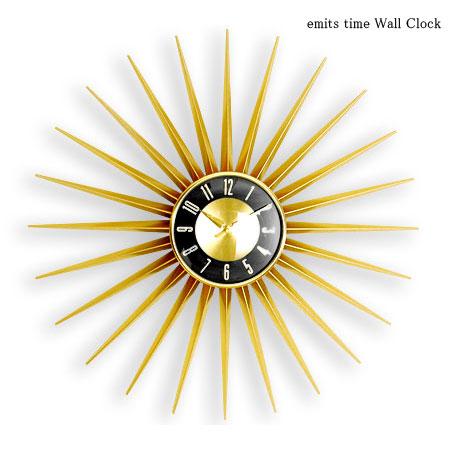 壁掛け時計 クロック emits time 国内正規総代理店アイテム ウォールクロック エミッツタイム 北欧輝く黄金の太陽が時を刻む 新色追加して再販 掛け時計 HS-024G ゴールド おしゃれ 大きい 北欧 ブラック 60cm 時計 新築祝い アート