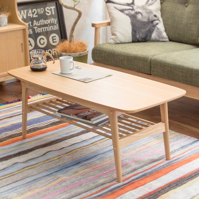 センターテーブル 幅105cm Henry ヘンリー HOT-534NA 収納棚付き 天然木 組立品 木製 テーブル リビングテーブル 机 おしゃれ 収納 北欧 一人暮らし