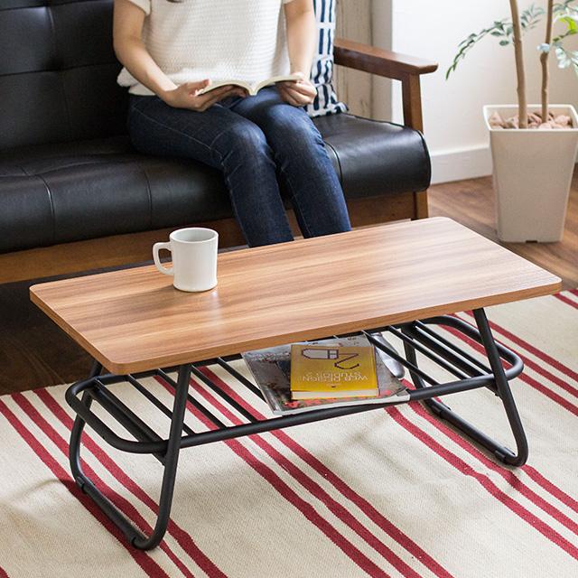 センターテーブル 80×40cm Muuth ムース 80 MUT-800 スチール 組立品 机 おしゃれ 北欧 収納 一人暮らし コーヒーテーブル テーブル リビングテーブル