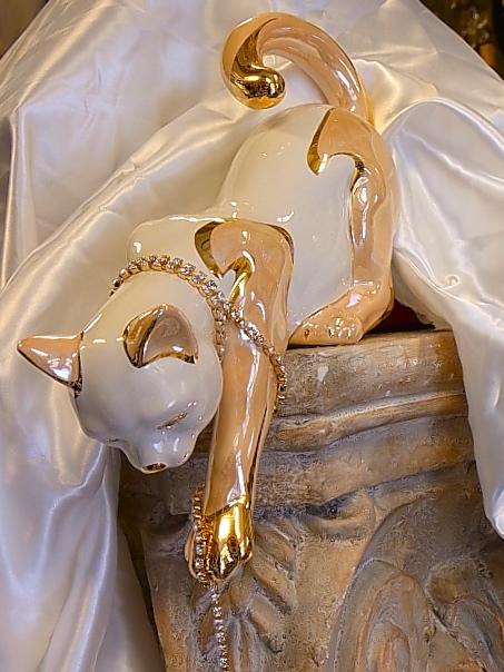 卸売 イタリア製イタリア製 アウラセラミックベージュ猫の置物, 風船の店ハッピーバルーン:155db95c --- gamedomination.xyz