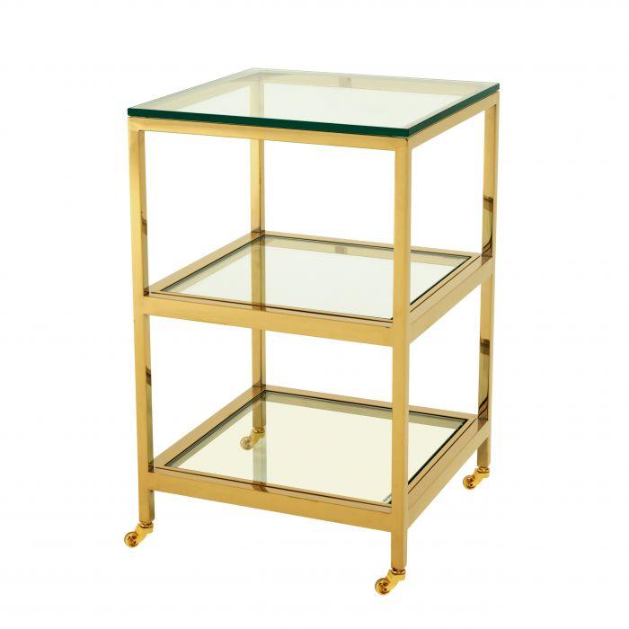 【EICHHOLTZ(アイホールツ)】サイドテーブルSIDE TABLE HUTTON/109981/ゴールド/クリスタルガラス