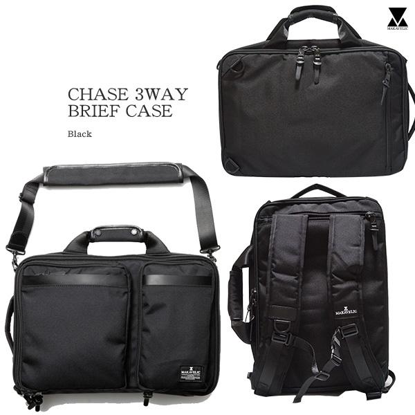 【送料無料】MAKAVELIC CHASE 3WAY BRIEF CASE マキャベリック ビジネスバッグ リュックサック 3WAY black BLACK メンズ 通学 キャンバス