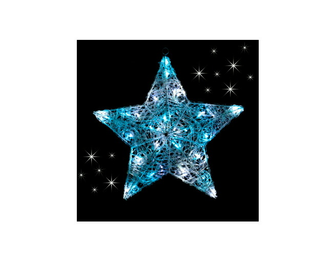 【送料無料】 LEDクリスタルスター(スカイブルー&ホワイト) WG-4342BW サイズ50×48×16cm LED40球〔クリスマス イルミネーション〕