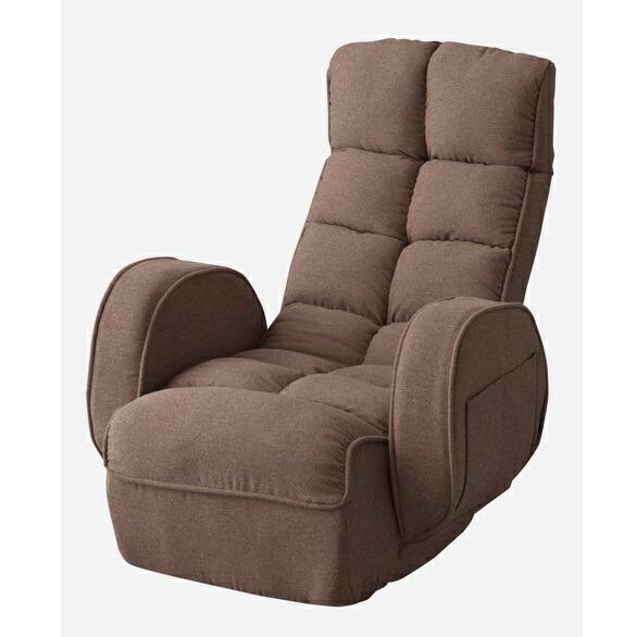 【送料無料】肘付きリクライナー リクライニングチェア ブラウン LSS-33BR 東谷 メーカー直送 同梱不可 代引不可 配送地域限定 新感触 折りたたみ コンパクト収納 ポリエステル綿 リモコン収納 座椅子