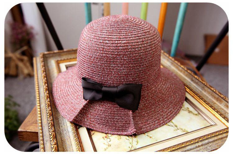 帽子 レディース ハット 麦わら帽子 ストローハット 折りたためる リボン カーキ ブラック レッド ブラウン