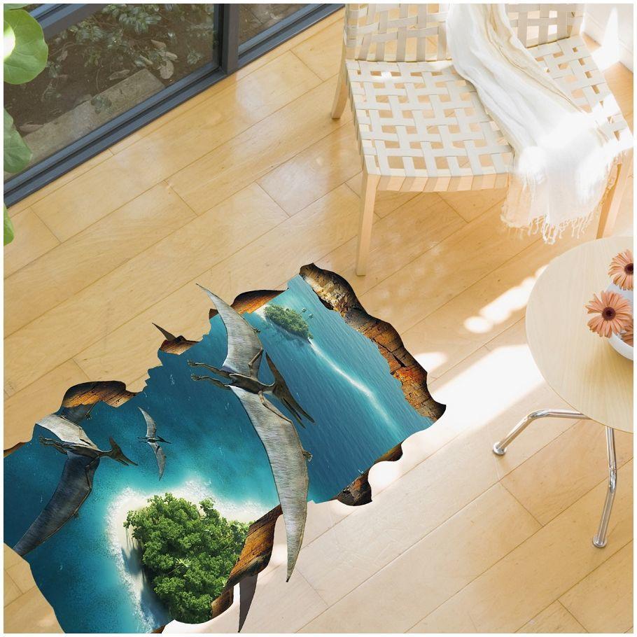 楽天市場 送料無料ウォールステッカー 壁紙シール トリックアート 3d 立体的 だまし絵 恐竜 キョウリュウ ダイナソー 床 フロアー 防水 ルームデコレーション ウォールデコレーション 面白い おもしろい 壁面装飾 パーティー イベント 雑貨 小物 インテリア Plus Nao