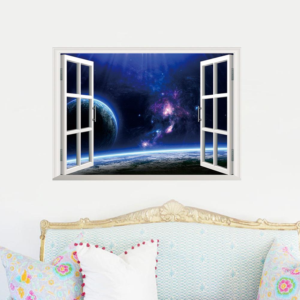 インテリア 寝具 収納 壁紙 壁装飾 ウォールステッカー 送料無料ウォールステッカー 壁紙シール ルームデコレーション トリックアート 3d 地球 立体的 おしゃれ 新作製品 世界最高品質人気 はがせる 惑星 窓 きれい 星 宇宙 だまし絵
