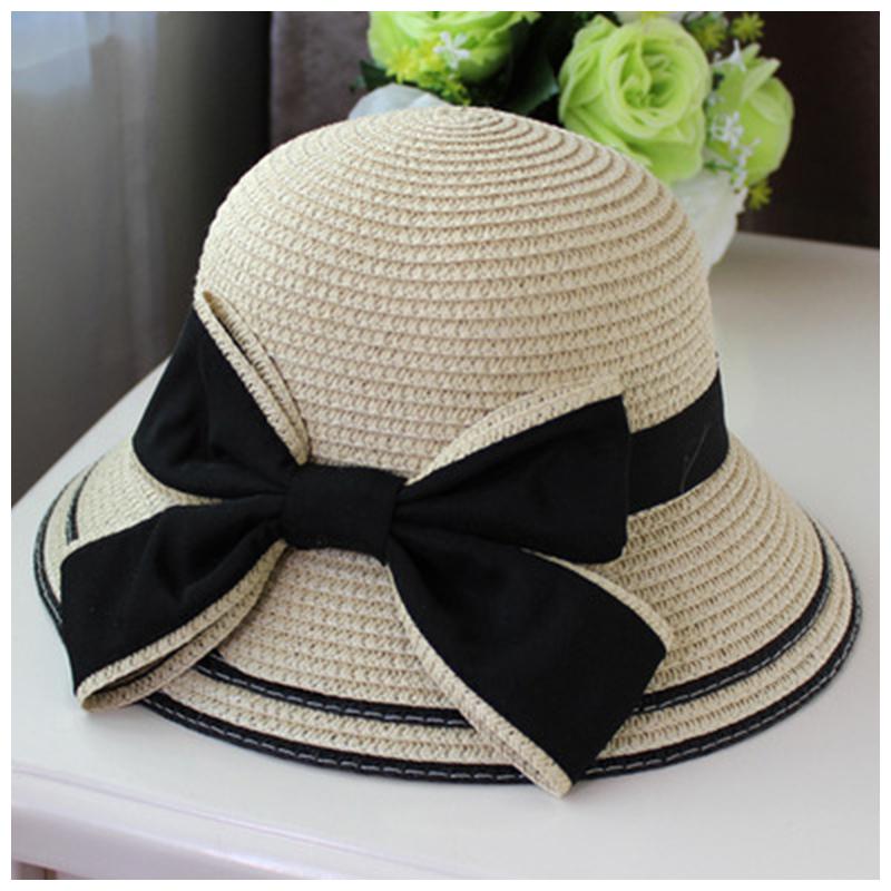 ストローハット ガールズ 女の子 子供 レディース 女性 日除け つば広  リボン おしゃれ かわいい 麦わら帽子 帽子 カンカン帽子  子供54cm 大人57cm