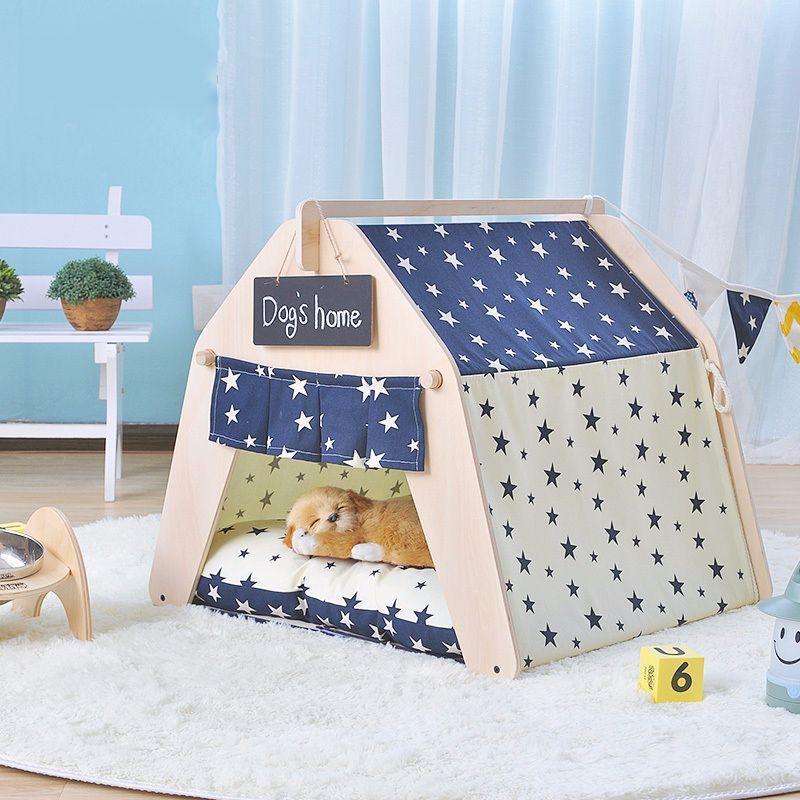 送料無料カドラー ドックハウス 室内用 犬猫兼用 小型犬 テント風 取り外し可能 ペットグッツ ペット用品 ペットの家 可愛い おしゃれ 星 犬小屋