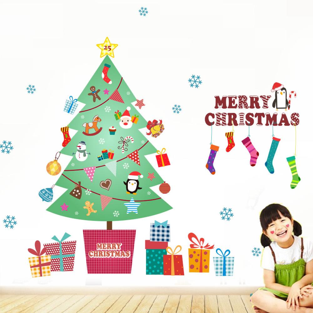 楽天市場 送料無料ウォールステッカー 壁紙シール クリスマス X Mas Christmas 貼ってはがせる クリスマスツリー ソックス 英字 雪の結晶 プレゼント サンタ トナカイ 雪だるま 壁装飾 シール 壁シール 飾り付け 装飾 壁 ガラス 窓 可愛い かわ Plus Nao