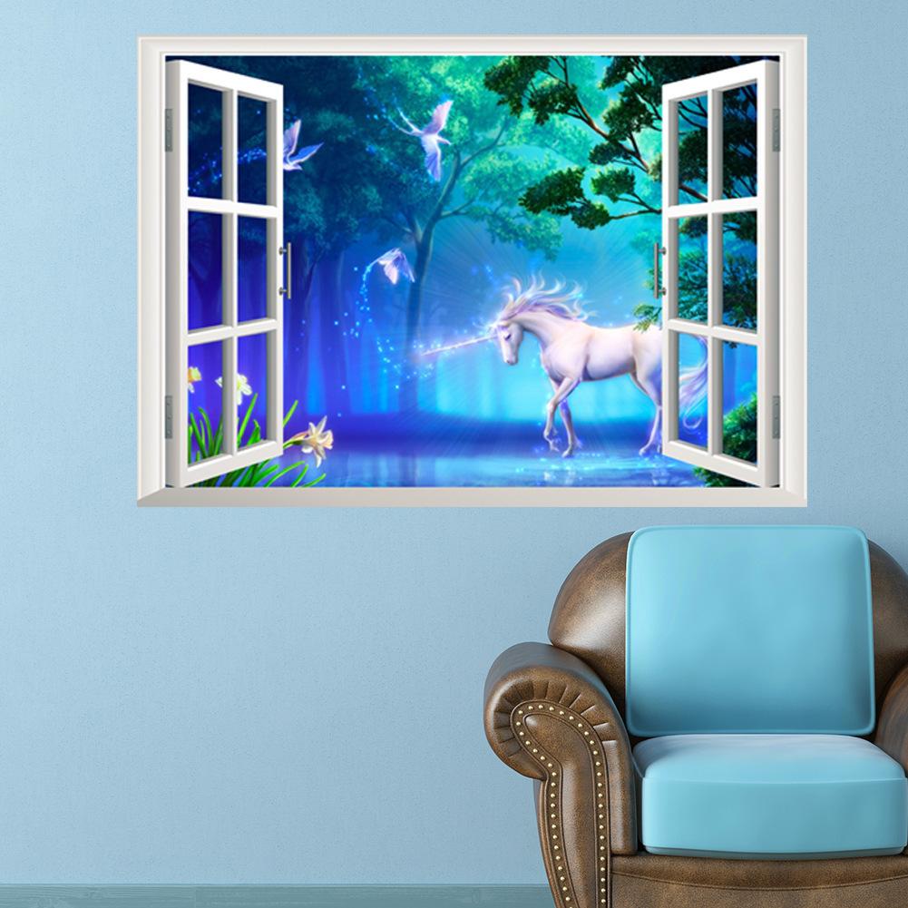 楽天市場 送料無料ウォールステッカー 壁紙シール シールタイプ 窓辺 窓枠 ユニコーン 風景画 景色 3d 立体的 森林 幻想的 ロマンチック 美麗 壁シール トリックアート だまし絵 おしゃれ きれいめ 飾り付け ルームデコレーション ウォールデコレーション D Plus Nao