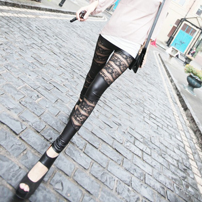 Different material フラワーレースレギンス / spats ☆ 10 minutes-length floral print lace ☆☆ ◎ scheduled to ship today 11/4