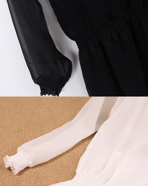 Browsing chiffon one piece, long-sleeved, transparent, white and black, freer mini