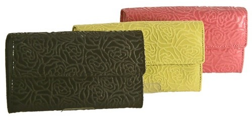 f8590c25f917 バッグ・小物・ブランド雑貨 レディース財布 財布 小銭入れがガバット開く人気の合皮素材の型押し婦人長財布!