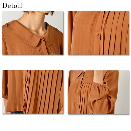 Pleated long sleeve blouse / tops / retro, sheer available!