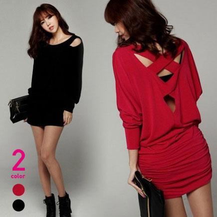 Plus Nao Show Long Sleeves Dress Tight Dress Browsing Dress Mini
