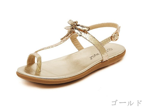Dragonfly motif bijou tong sandals tong sandals tong flat sandals flat sandals dragonfly motif bijou Lady's silver gold belonging to