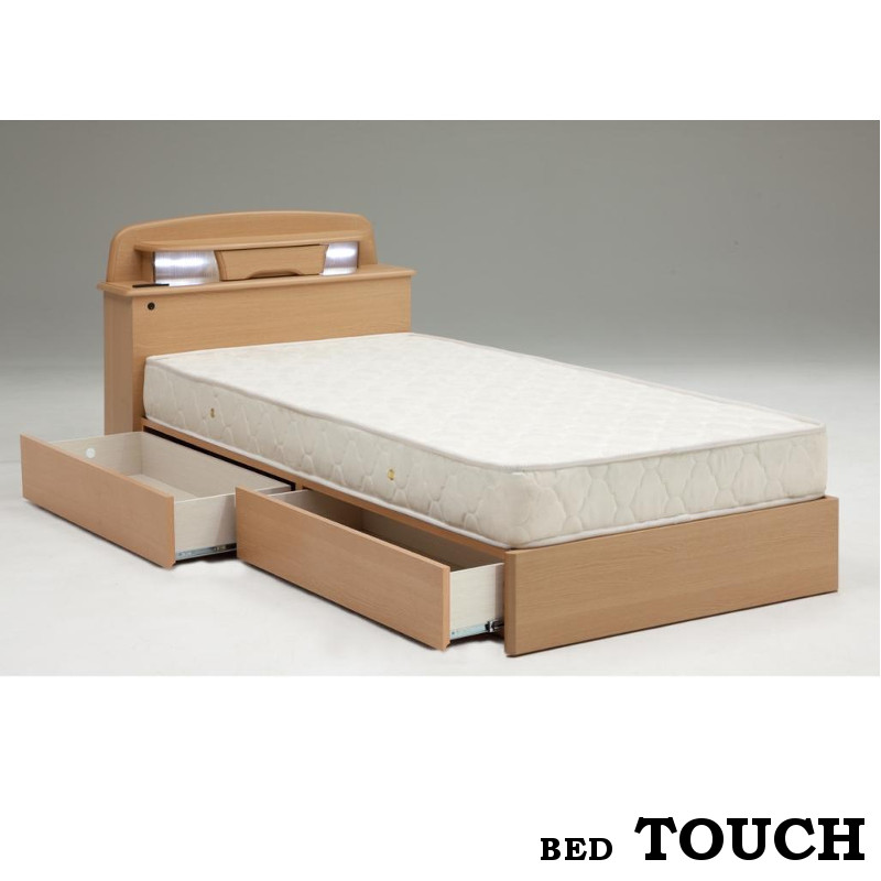 【送料無料】 シングルベッド 収納付き 引出付き シンプル ライト付き コンセント付き 宮付き ナチュラル 棚付き 大容量収納ベッド シングルベッドタッチナチュラル