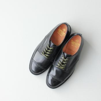 サンダースミリタリーダービーシュー (1716B) MILITARY DERBY SHOE LEATHER SOLE polished calf SANDERS(レディース) *送料無料****