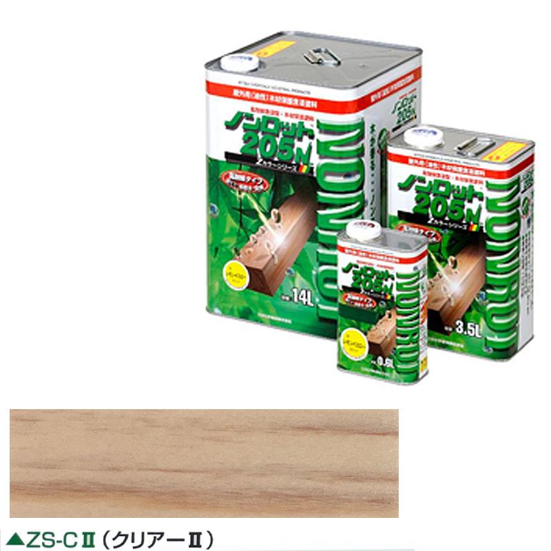 【代引不可】【個人宅配送不可】木材保護塗料 ノンロット 205N ZS-C2 クリアー2 14リットル 屋外白木用 含浸下塗料 透明タイプ 三井 Dワ