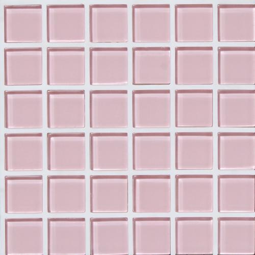 【代引不可】【29枚入】モザイクタイル ガラス ピンク 25-G4001T 浴室 室内 トイレ DIY 簡単施工 裏面シール貼るだけ 藤垣窯業 Lク