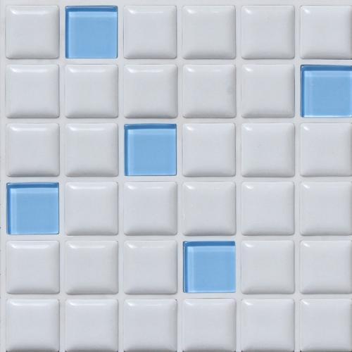 【代引不可】【34枚入】モザイクタイル プチコレガラスミックス ライトブルー PTI-01 G6001T 浴室 室内 トイレ DIY 簡単施工 裏面シール貼るだけ 藤垣窯業 Lク