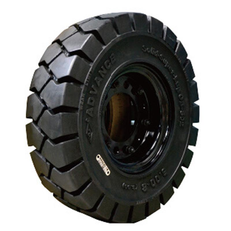 産業車両用 ノーパンクタイヤ ブラック 6.50-10 リム幅5.00F ホイール付 アドバンス フォークリフト 重機 交換用 ふくなが 代引不可