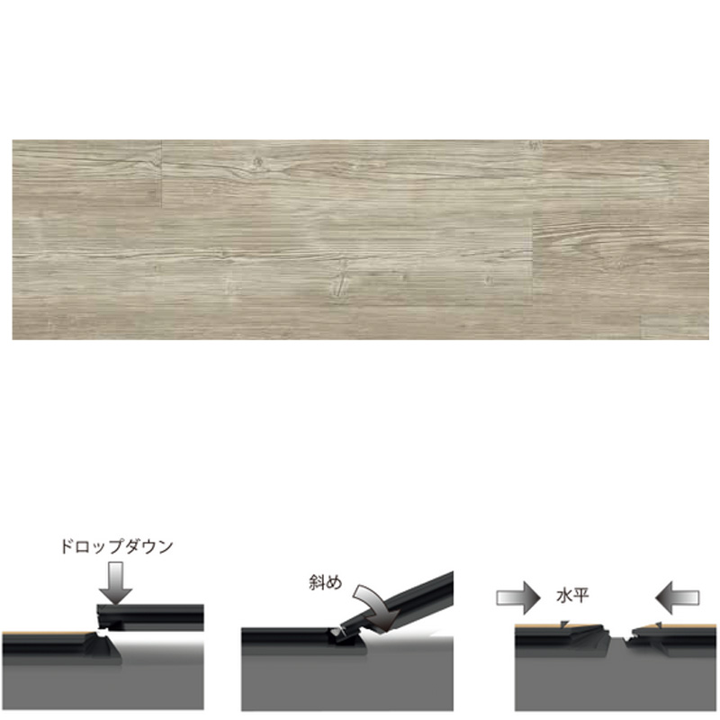 床材 ペルゴLVTフロア 9枚入 グレイシャレーパイン V2107-40055 4.5x187x1251mm 木目 1ケース約2.105平方m用 北洲 シンコール 代引不可 時間指定不可