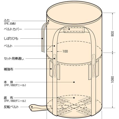 【代引不可】コンドーテック コンテナバッグ 土嚢 土のう 丸型 KR-2-B 10枚入 【1トンバッグ フレコンバッグ】