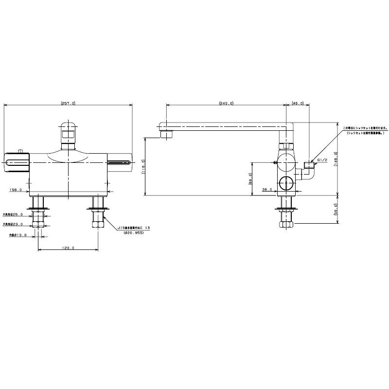 サーモスタットシャワー混合栓 住宅設備 カクダイ バス用混合栓 水栓 KAKUDAI 吉KD 水廻り (デッキタイプ) 175-003 金具