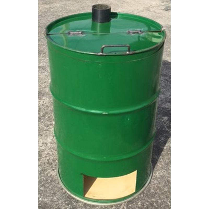 【代引不可】【受注生産】【塗装無】 緑 ドラム缶焼却炉 フタ付き 下小窓蝶番蓋付 煙突なし 200L 焼却炉 ミY