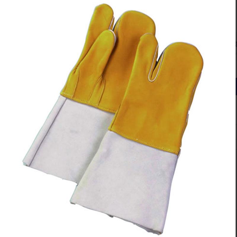 【60双】 牛床革 手袋 コンビ溶接 3本指 No70 表革 溶接 作業用 革 皮 工場 現場 熱T 【代引不可】