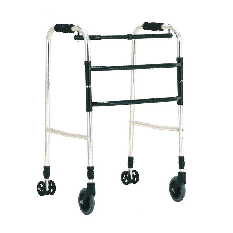 歩行器 アルミ製 ウォーカー 交互歩行器 AL-101L 折り畳み クリスケアー キャスター グリップ 歩行補助 リハビリ クリスタル産業 代引不可