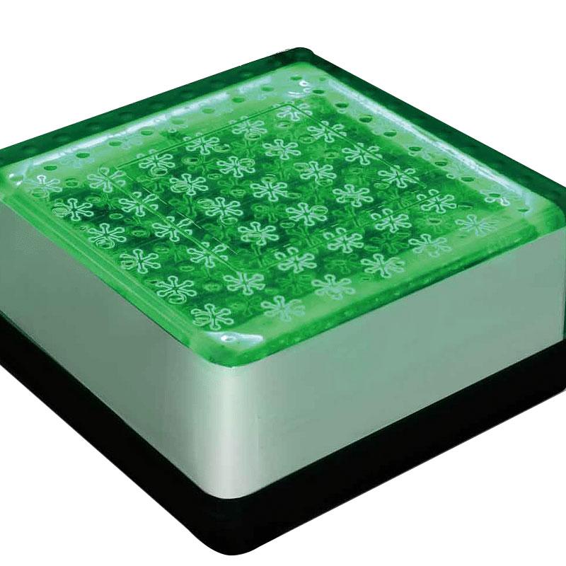 埋込式 LED ライト ソーラーブリック 角形 グリーン 200mm SBH200F 太陽光LED エクステリア 足元 点灯 マテリアルワールド 代引不可