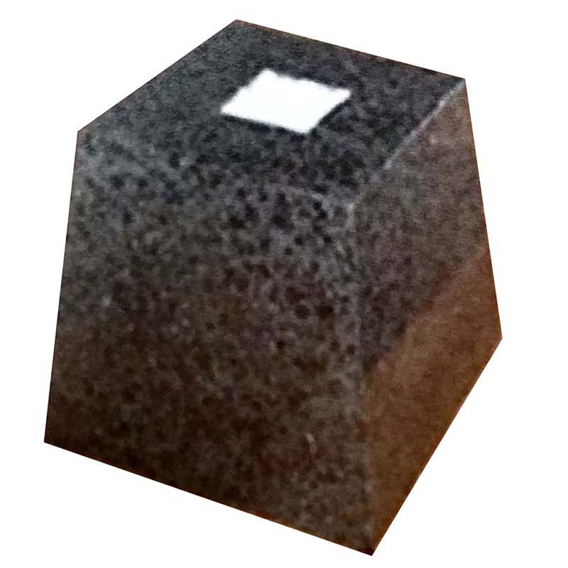 【代引不可】御影石 柱受 黒 角 9寸 上270×底340×高200 アミ
