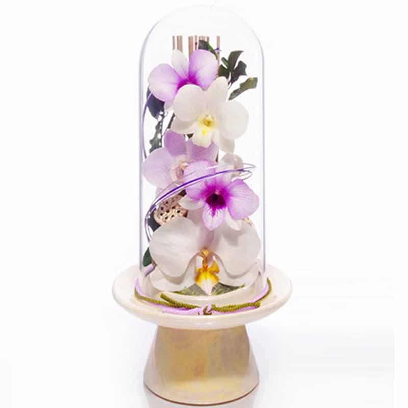 生花が置けない悩みを解消 ボトルフラワー 森のグラスブーケ お供え用 直営ストア 公式サイト 天の橋 12.5x26.5cm 洋蘭 生花をドライ加工 プリザ などにも 色がシック 最大5年美しい花姿 お供え 宮Y D