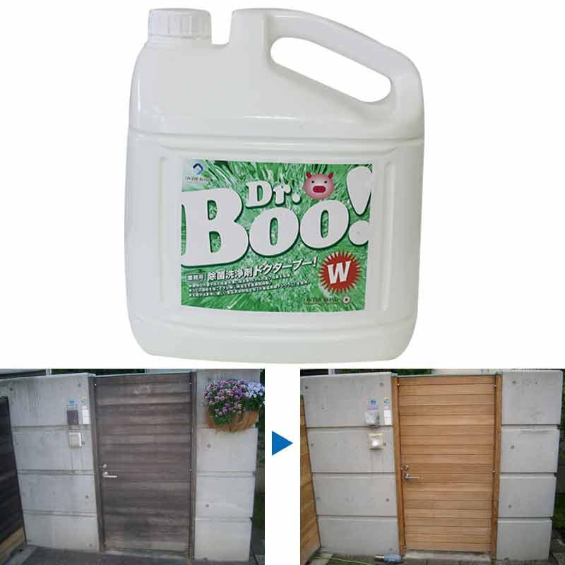 除菌 洗浄 洗剤 Dr.Boo W ドクターBOO 4L アルカリ性 業務用 木材 用 カビ 日焼け 落とし 除去 クリーン JSP 代引不可