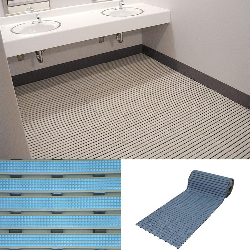 ロールスノコ パールブルー 15x600x5000 23kg シャワールームやロッカールームに つなぎ目でカット可能なすのこ みずわ Lク 代引不可