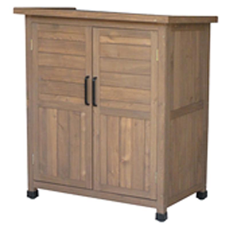 木製 物置 収納庫 小 ブラウン AW-8092BW 805x500x930 天然木シダー お客様組立商品 ガーデンファニチャー エクステリア AL 代引不可