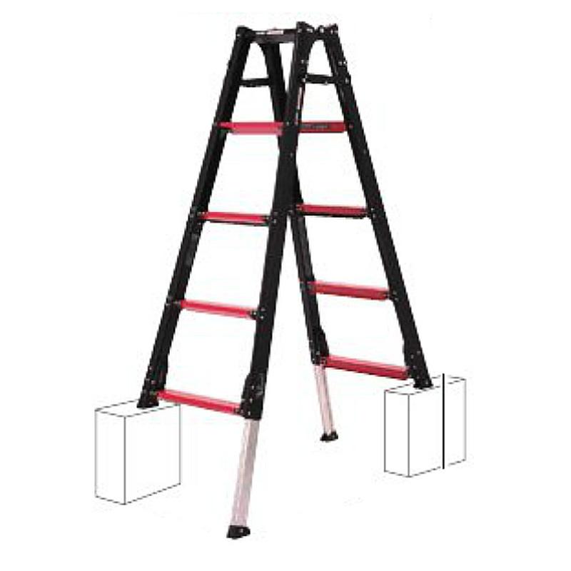 伸縮脚 付 はしご 兼 脚立 GUD-150 アルミ リベット方式 折畳式 中折式 最大積載質量100kg 使用角度75度 ラダー GAUDI アルインコ 個人宅配送不可 代引不可